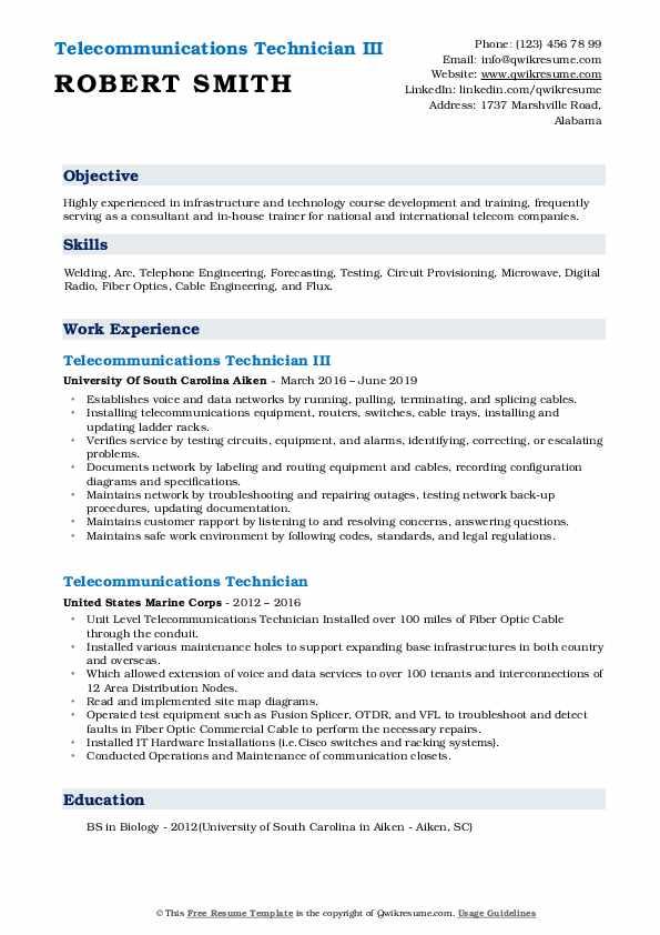 Telecommunications Technician III Resume Format