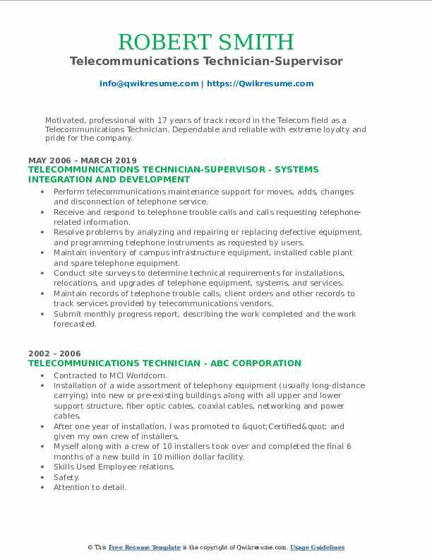 Telecommunications Technician-Supervisor Resume Example