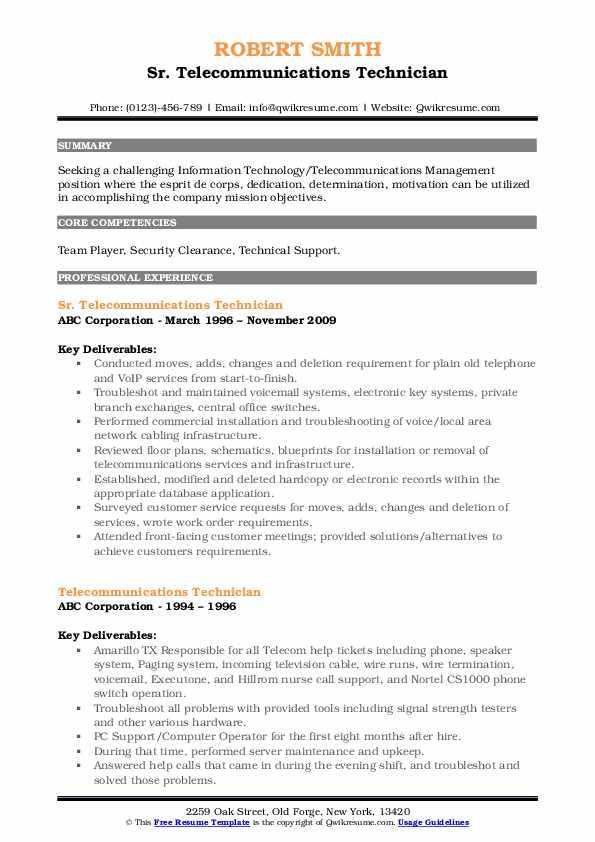 Sr. Telecommunications Technician Resume Model