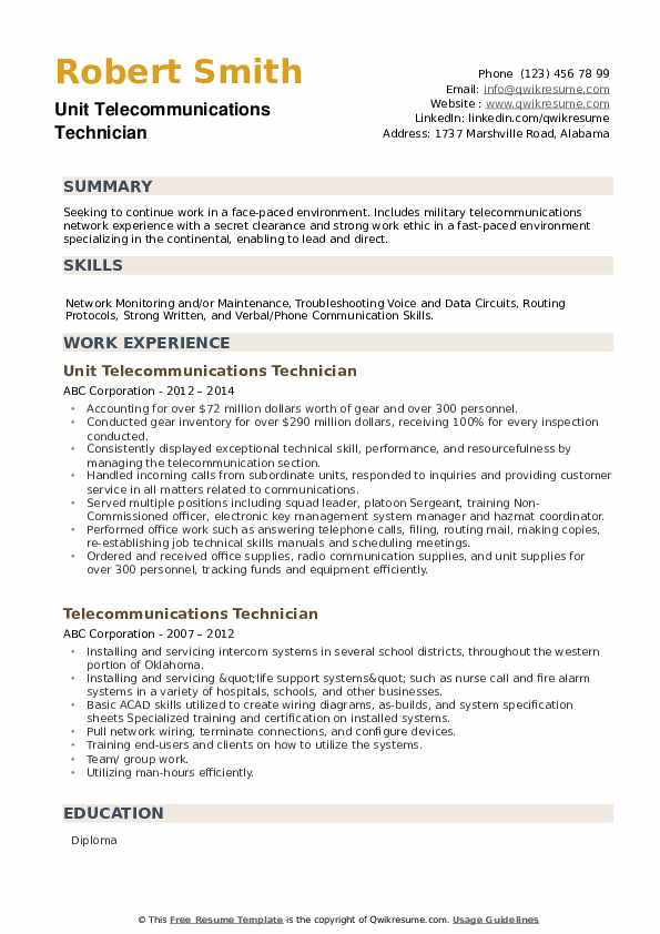 Unit Telecommunications Technician Resume Model