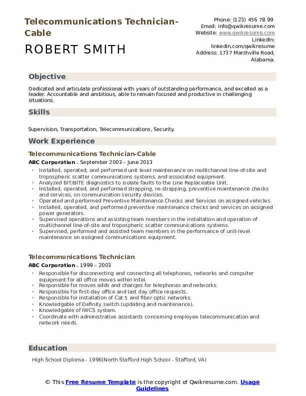 Telecommunications Technician-Cable Resume Example