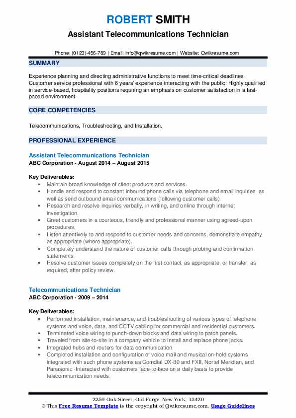 Assistant Telecommunications Technician Resume Example