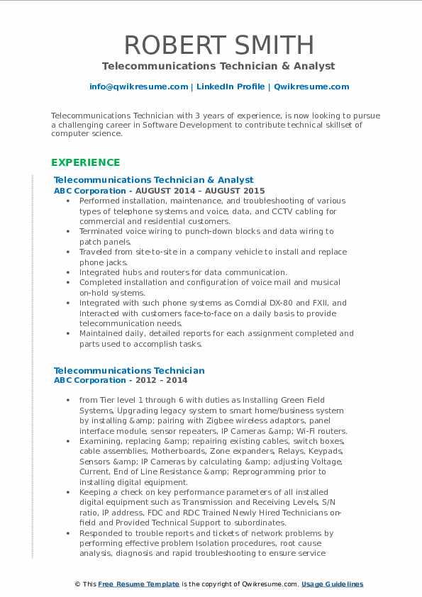 Telecommunications Technician & Analyst Resume Template