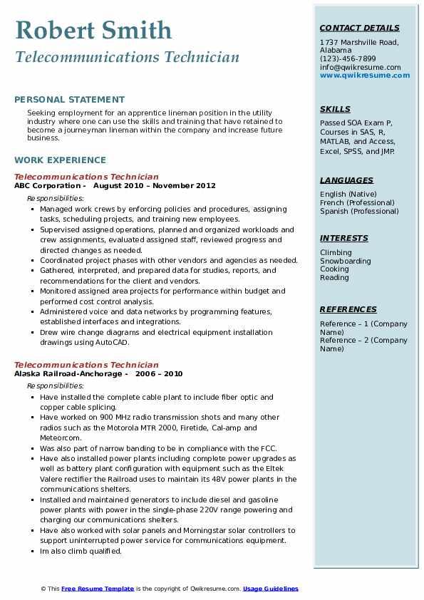 Telecommunications Technician Resume example