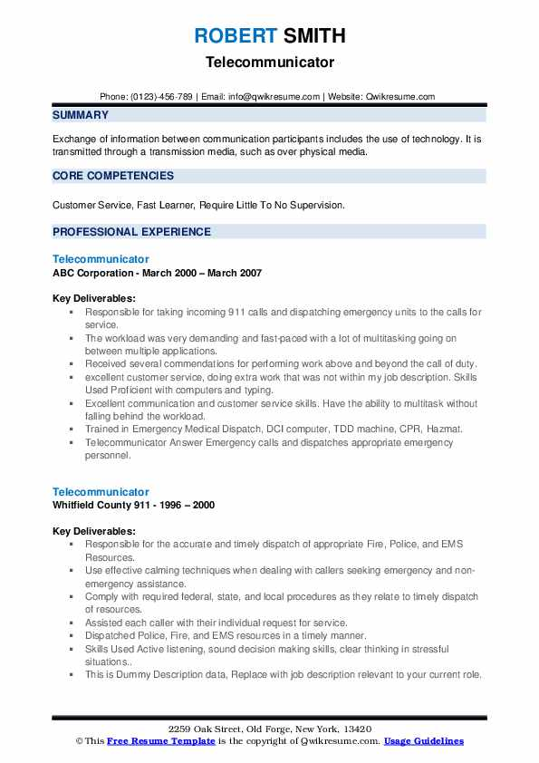 Telecommunicator Resume example