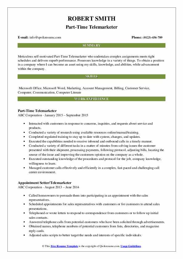 Part-Time Telemarketer Resume Sample