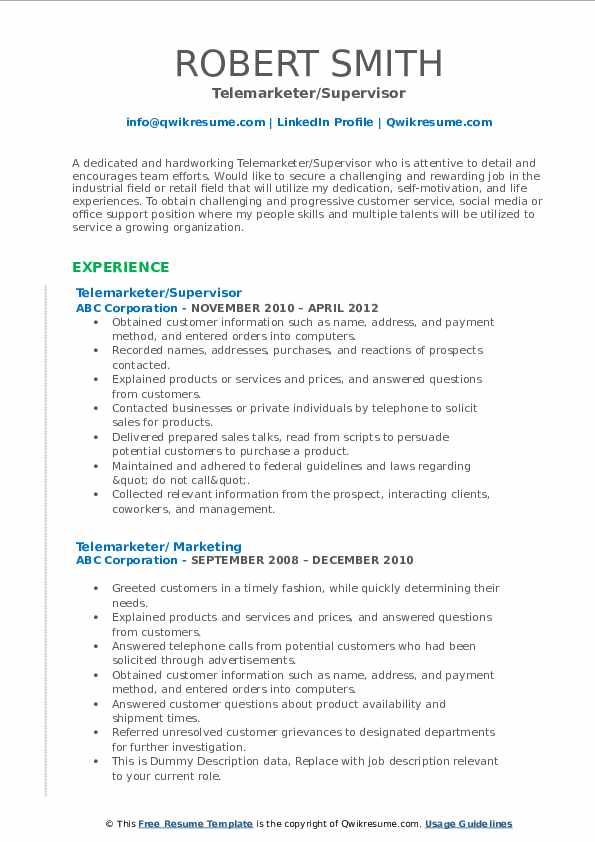 Telemarketer/Supervisor Resume Model