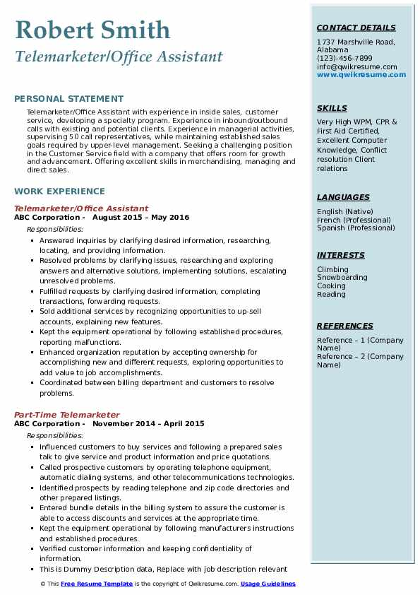 Telemarketer/Office Assistant Resume Template
