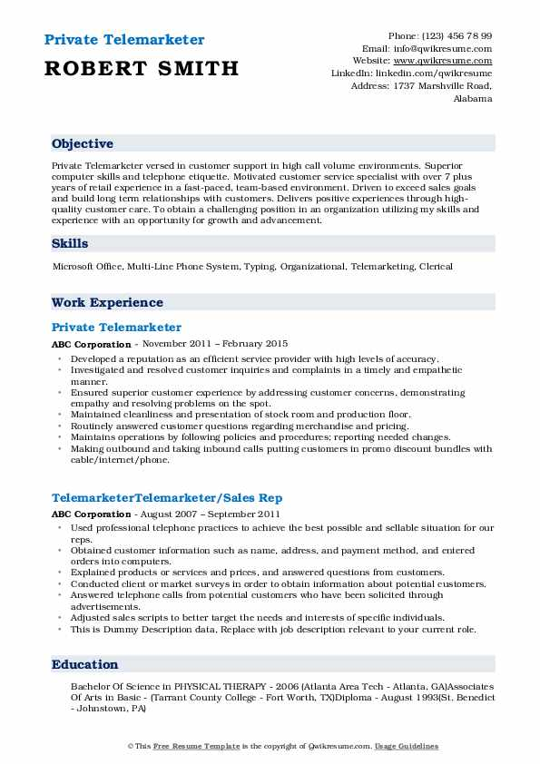Private Telemarketer Resume Format