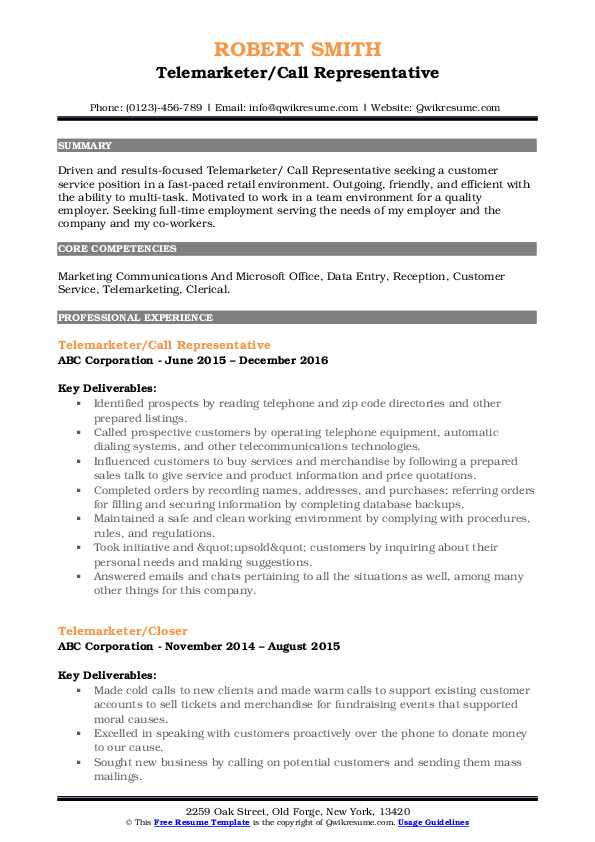 Telemarketer/Call Representative Resume Model