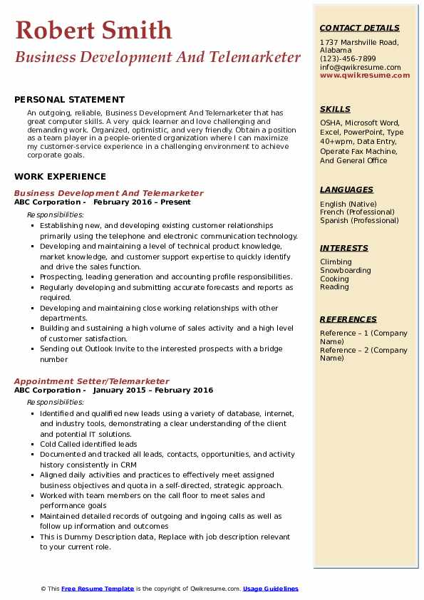 Business Development And Telemarketer Resume Sample