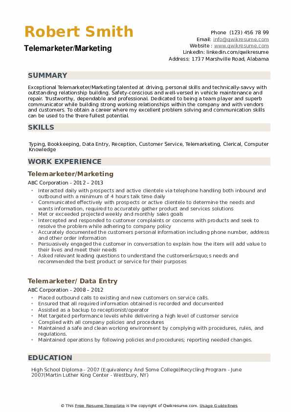 Telemarketer/Marketing Resume Example