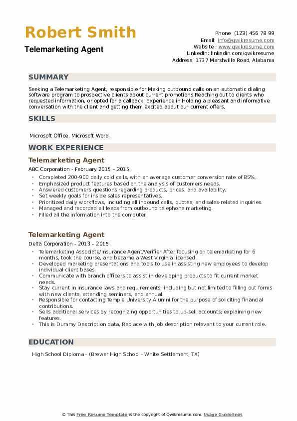 Telemarketing Agent Resume example