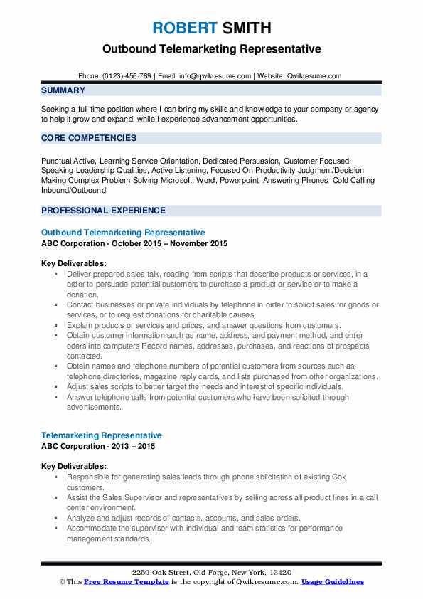 Outbound Telemarketing Representative Resume Sample