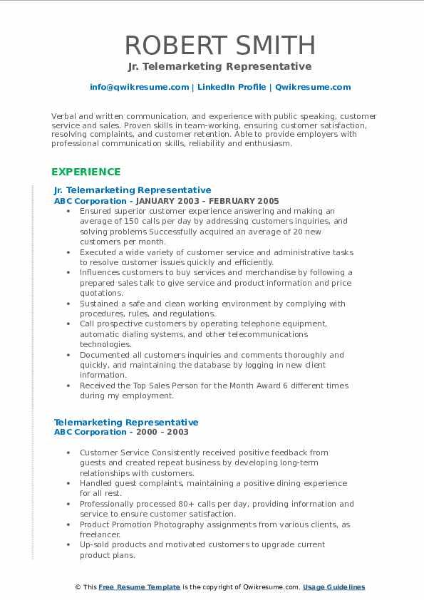 Jr. Telemarketing Representative Resume Example