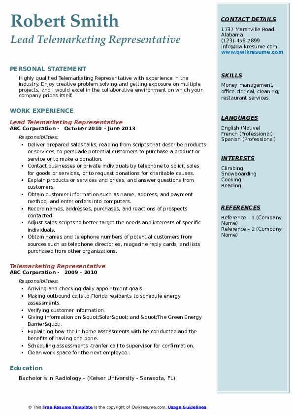 Lead Telemarketing Representative Resume Template
