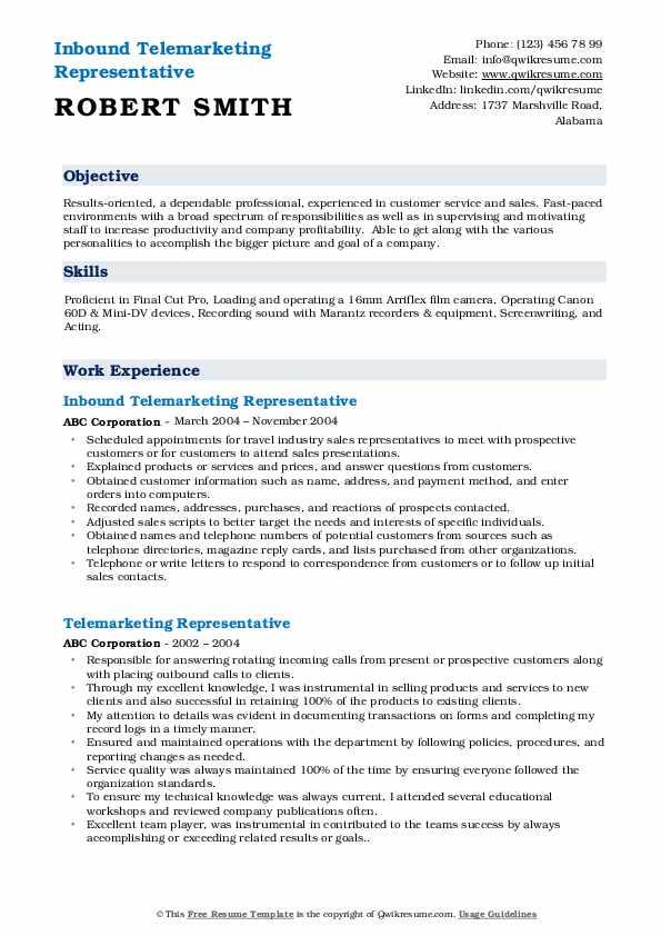 Inbound Telemarketing Representative Resume Model