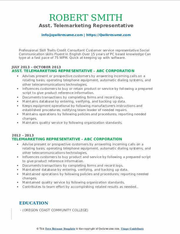 Asst. Telemarketing Representative Resume Example