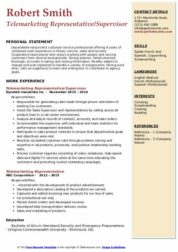 Telemarketing Representative/Supervisor Resume Sample
