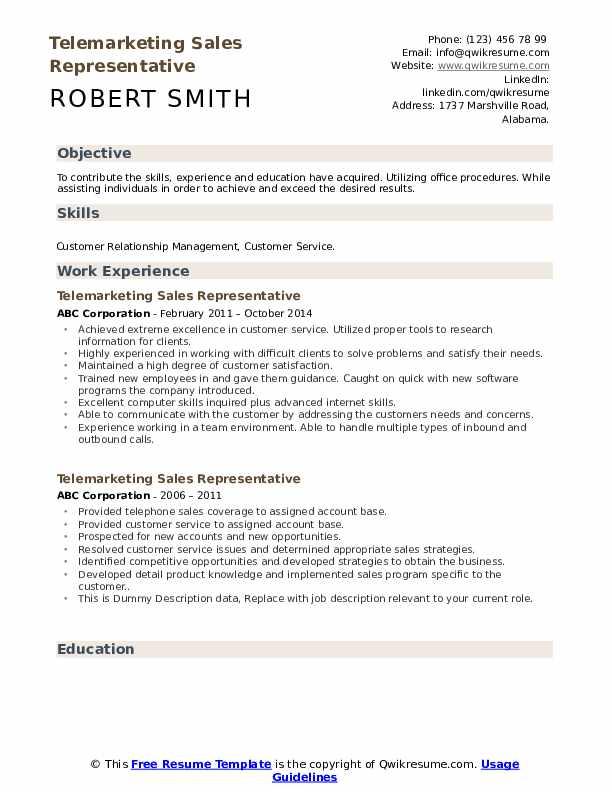 telemarketer free sample resume