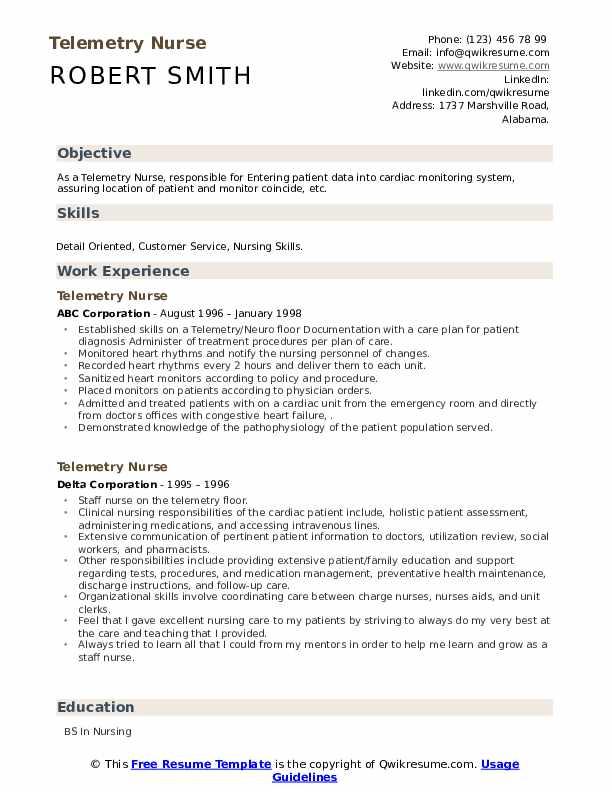 Telemetry nursing resume professional college thesis ideas