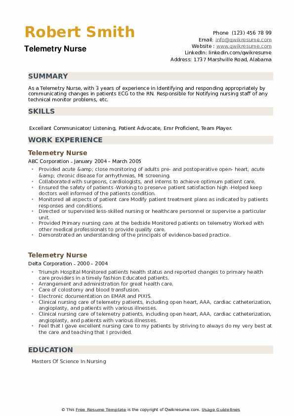 Telemetry Nurse Resume example