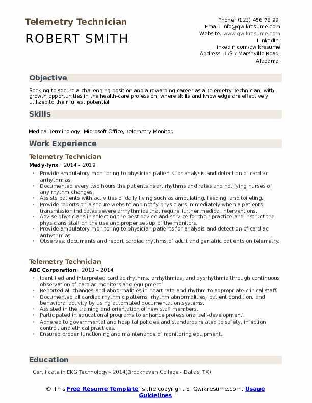 Telemetry Technician Resume Example