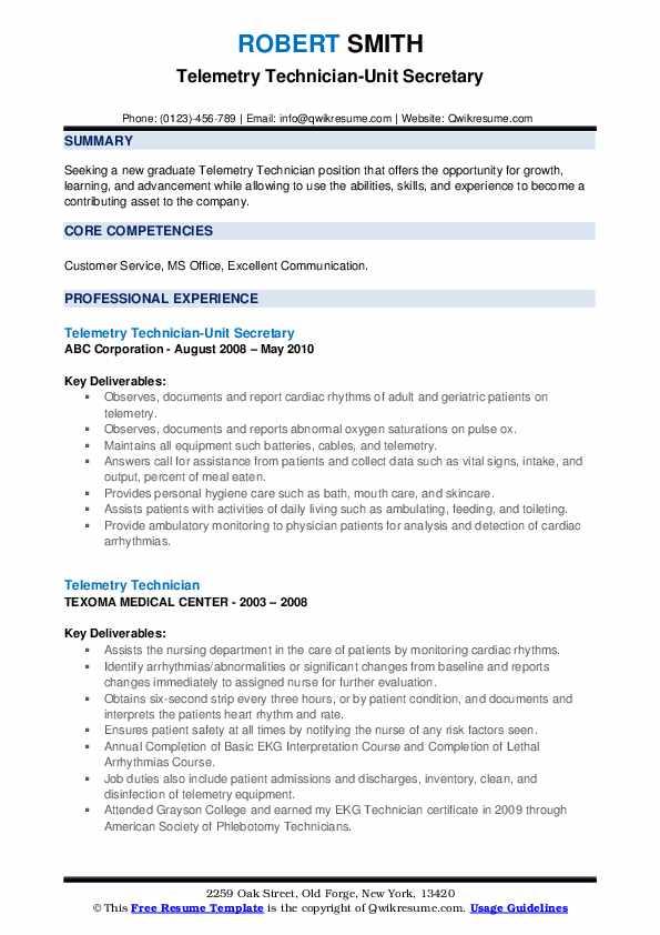 Telemetry Technician Resume Samples | QwikResume