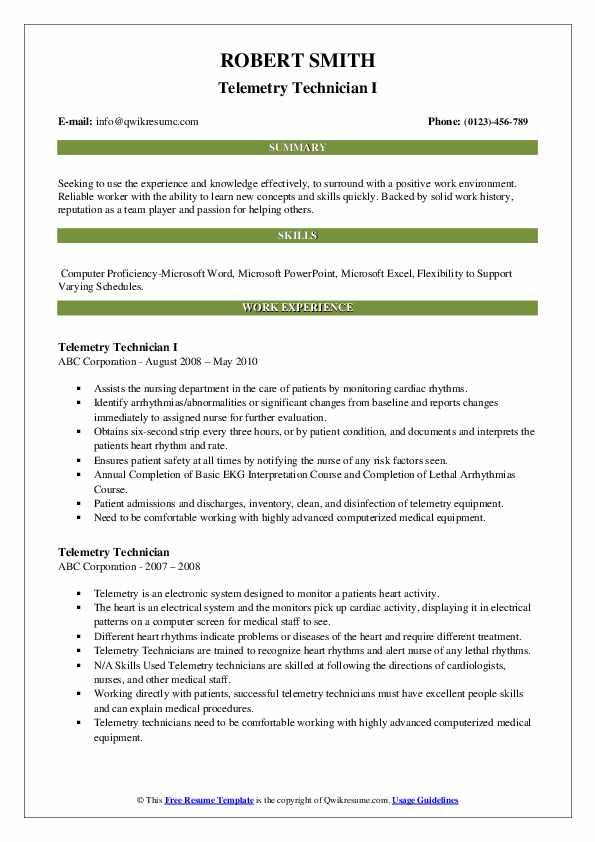Telemetry Technician I Resume Sample