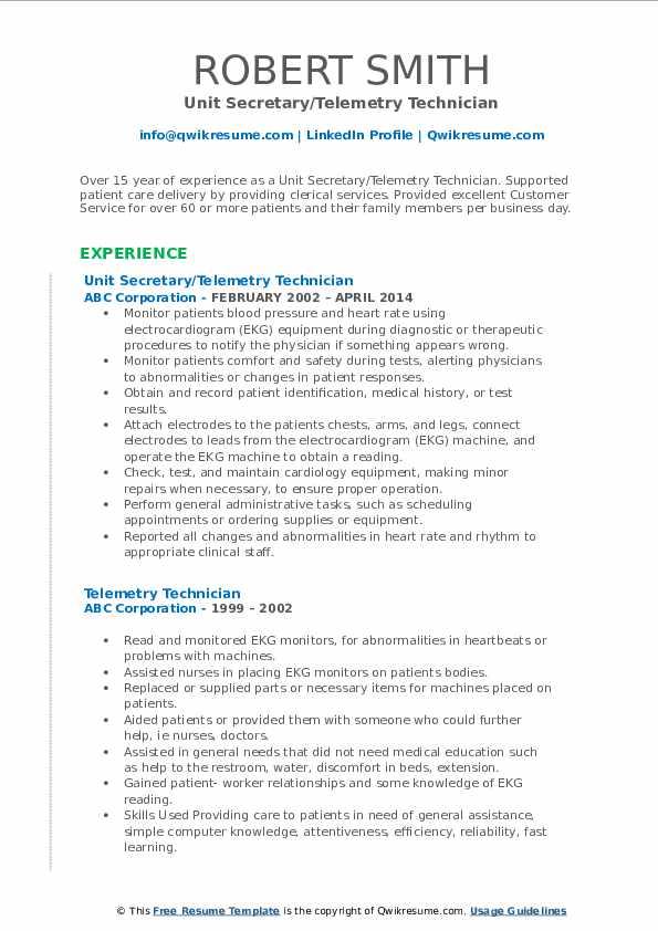 Unit Secretary/Telemetry Technician Resume Model