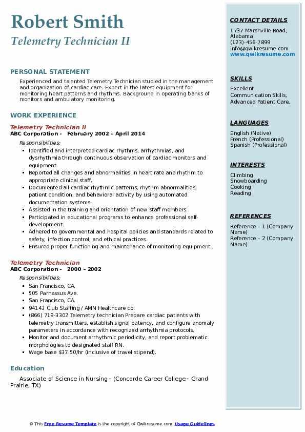 Telemetry Technician II Resume Sample