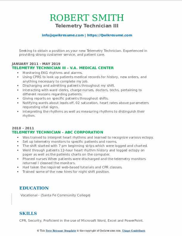 Telemetry Technician III Resume Sample