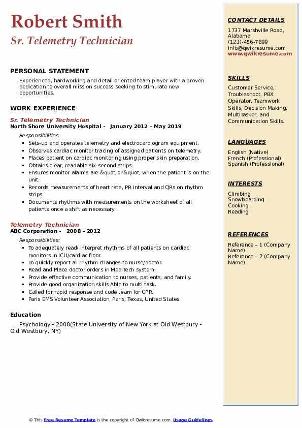 Sr. Telemetry Technician Resume Model