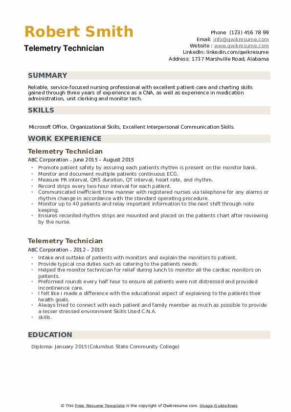 Telemetry Technician Resume example