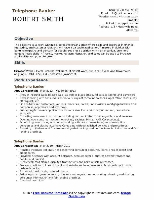 Telephone Banker Resume Sample