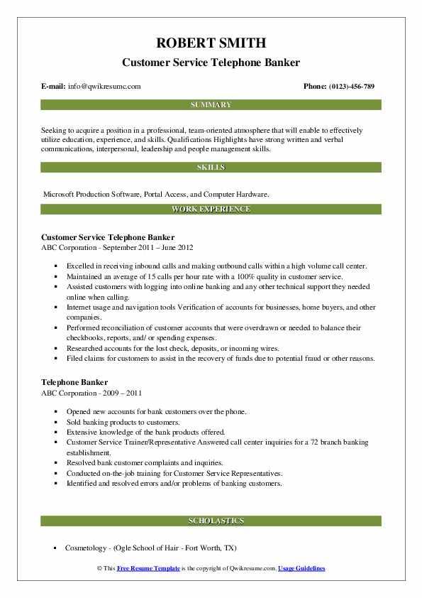 Customer Service Telephone Banker Resume Model