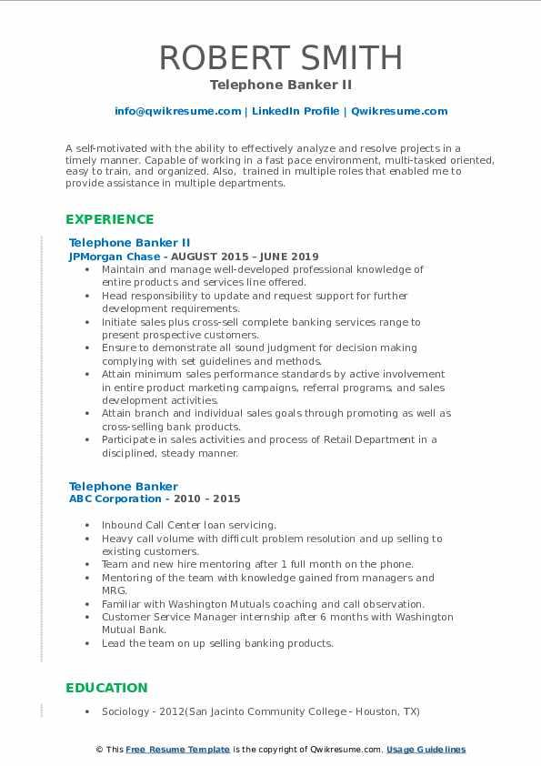 Telephone Banker II Resume Sample