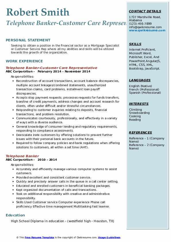 Telephone Banker-Customer Care Representative Resume Sample