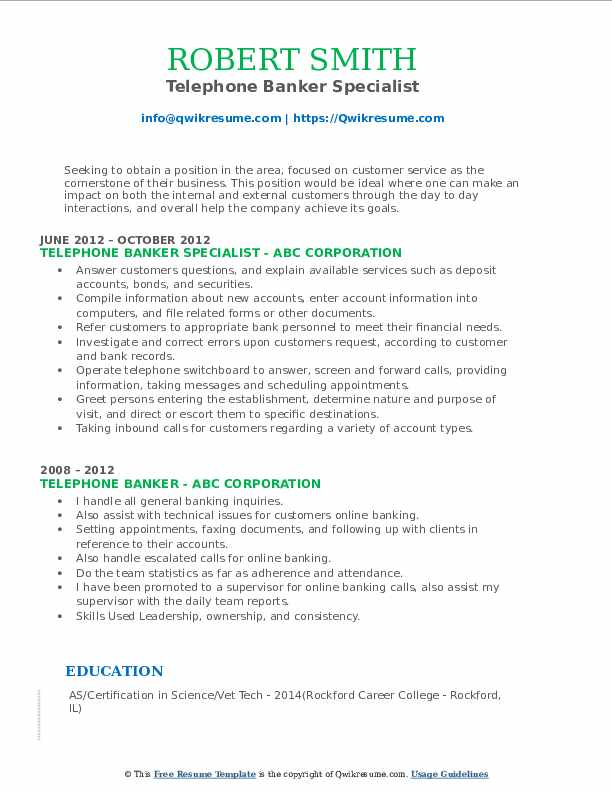 Telephone Banker Specialist Resume Template