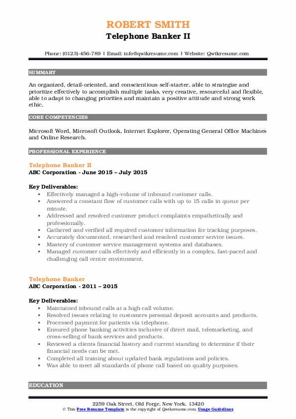 Telephone Banker II Resume Model