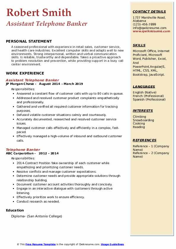 Assistant Telephone Banker Resume Sample