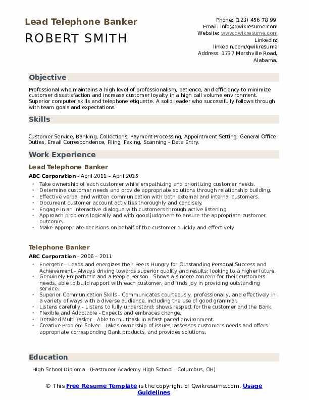 Lead Telephone Banker Resume Sample