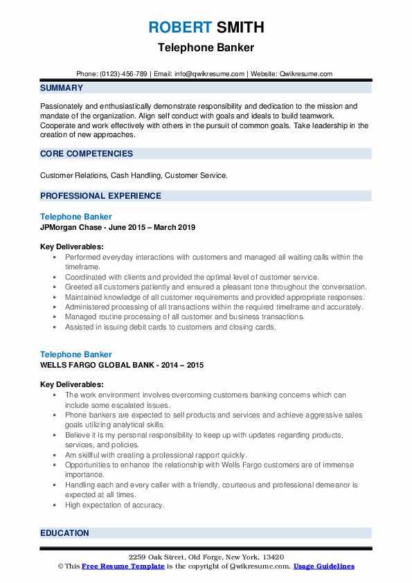 Telephone Banker Resume example