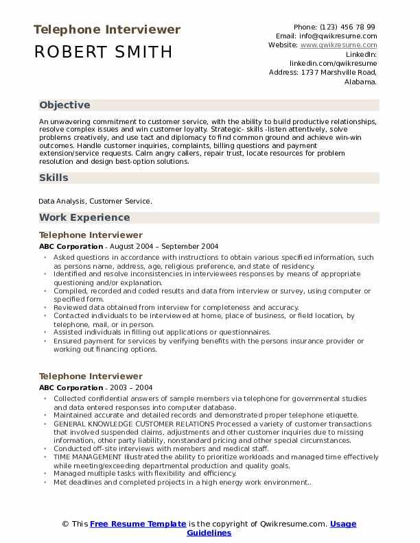 Telephone Interviewer Resume Model