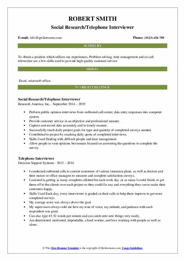 Social Research/Telephone Interviewer Resume Example