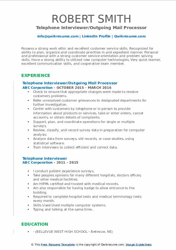 Telephone Interviewer/Outgoing Mail Processor Resume Example