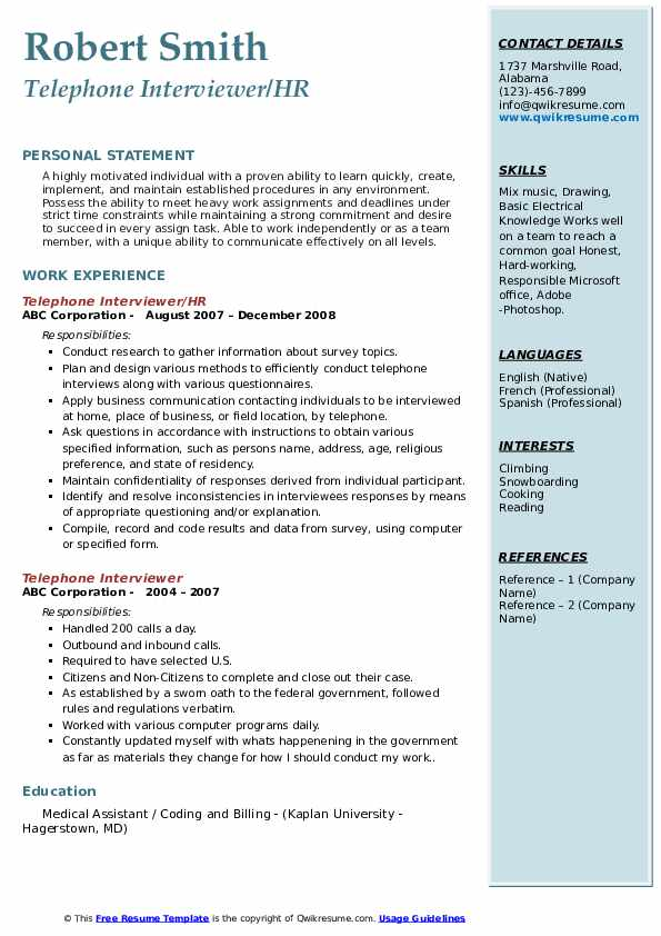 Telephone Interviewer/HR Resume Format