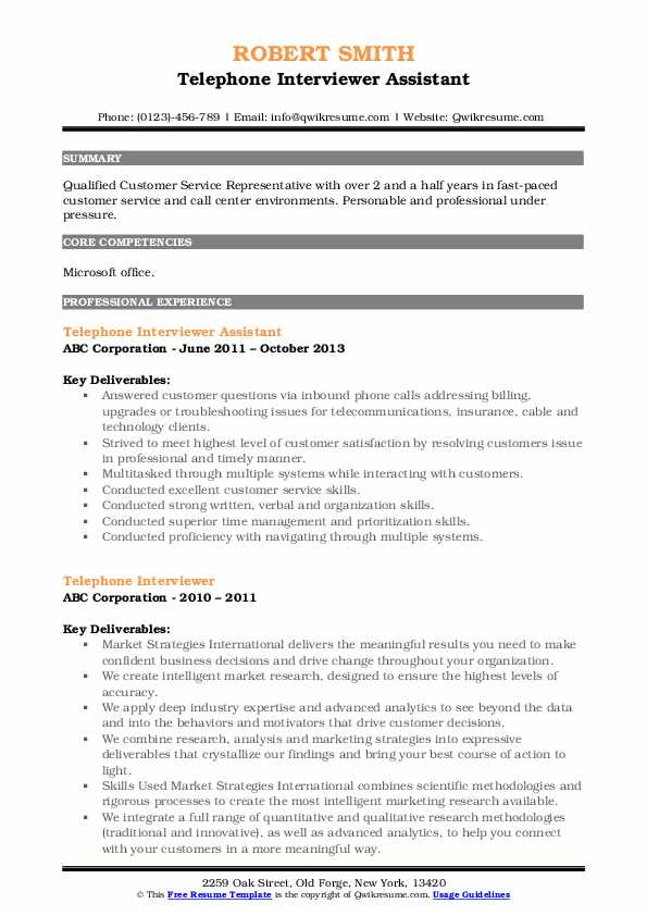 Telephone Interviewer Assistant Resume Format