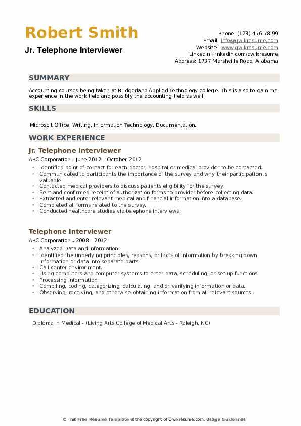 Jr. Telephone Interviewer Resume Format