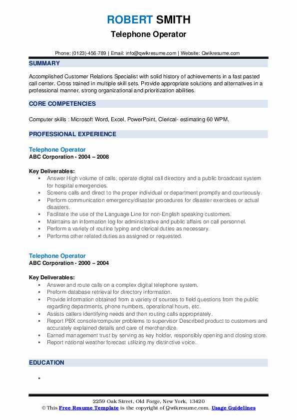 Telephone Operator Resume example